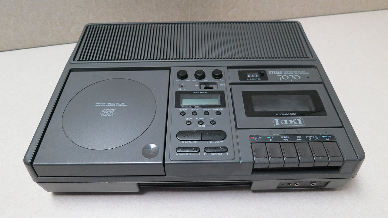 Portable CD player and cassette recorder combination