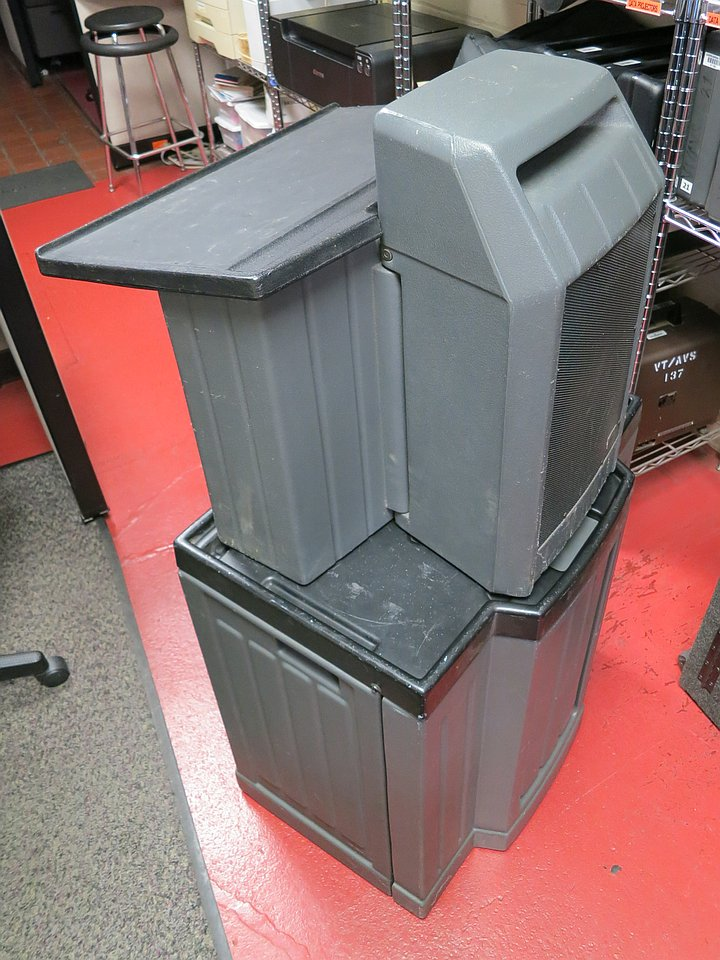 Black and gray lectern with folding stand